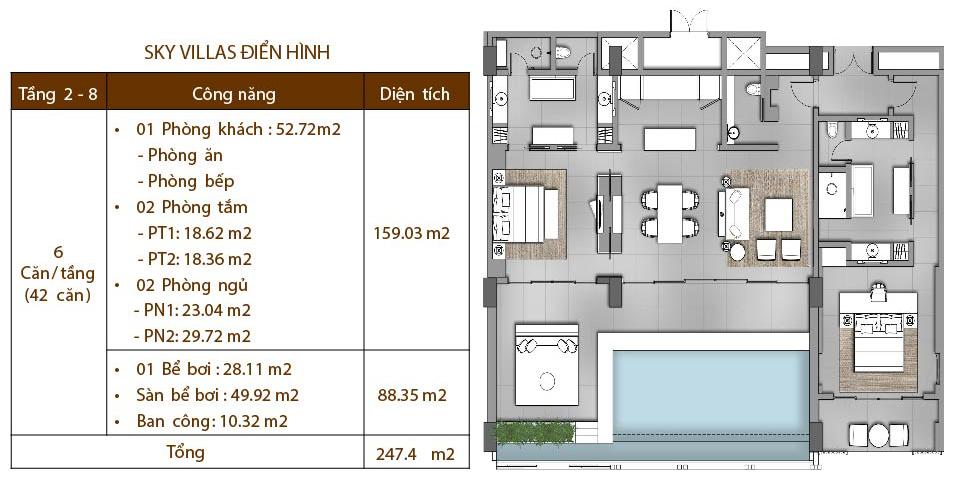 MẶT BẰNG CĂN HỘ ĐIỂN HÌNH SKY VILLAS regent phú quốc REGENT PHU QUOC RESIDENCES || Trang chính thức dự án Regent Residences Phú Quốc M   T B   NG C  N H      I   N H  NH SKY VILLAS